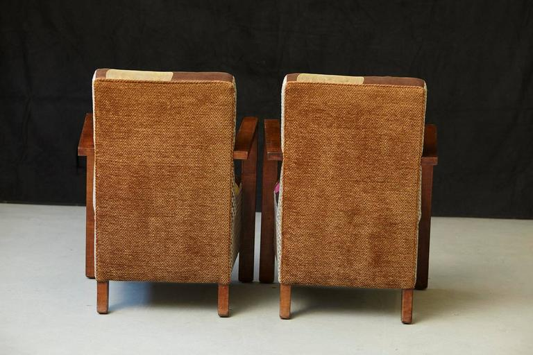 Mid-20th Century Pair of Argentinian Art Deco Lounge Chairs, Buenos Aires, ca 1930s For Sale