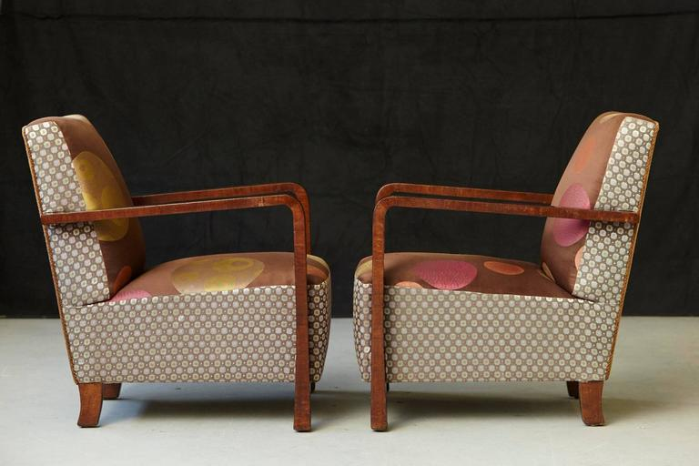 Fabric Pair of Argentinian Art Deco Lounge Chairs, Buenos Aires, ca 1930s For Sale