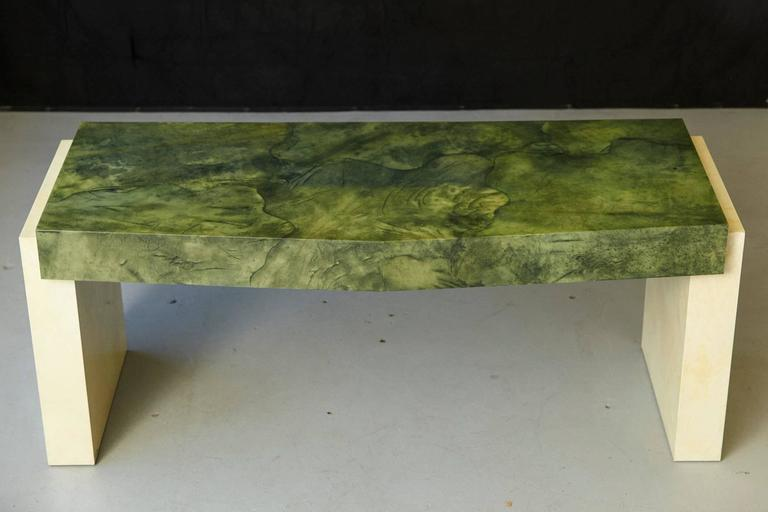 Modern Custom Ordered Karl Springer Marbleized Emerald Green Lacquered Goatskin Desk For Sale