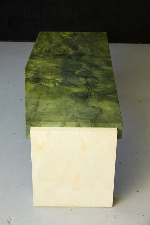 American Custom Ordered Karl Springer Marbleized Emerald Green Lacquered Goatskin Desk For Sale