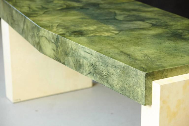 Custom Ordered Karl Springer Marbleized Emerald Green Lacquered Goatskin Desk For Sale 1