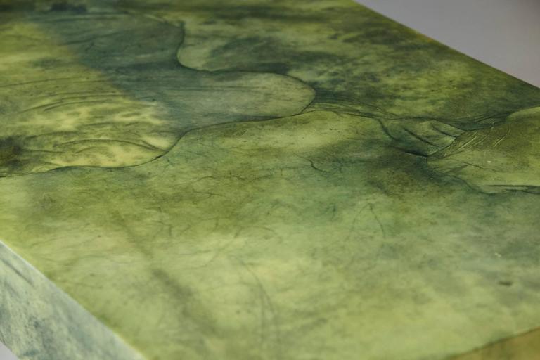 Custom Ordered Karl Springer Marbleized Emerald Green Lacquered Goatskin Desk For Sale 2