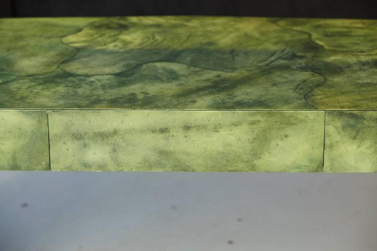 Custom Ordered Karl Springer Marbleized Emerald Green Lacquered Goatskin Desk For Sale 3