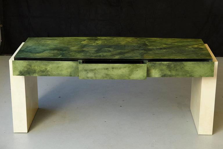 20th Century Custom Ordered Karl Springer Marbleized Emerald Green Lacquered Goatskin Desk For Sale