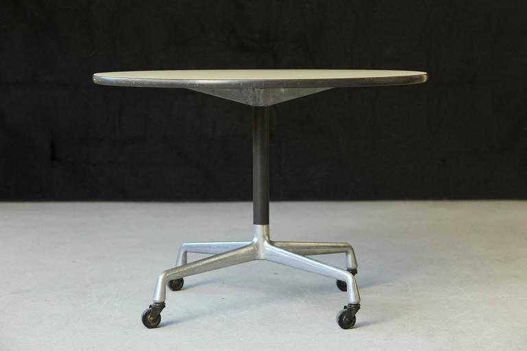Eames Aluminum Group Round Side Table on Casters for Herman Miller 2