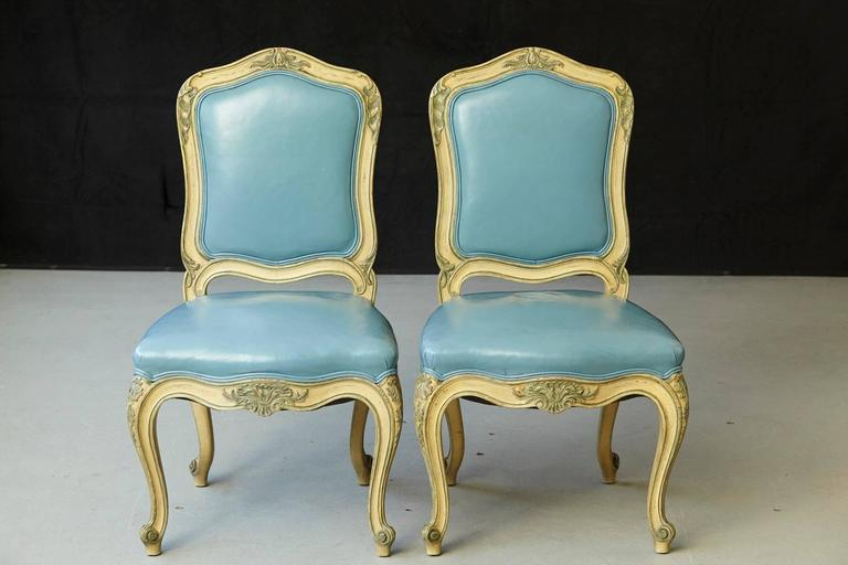 Pair of French Louis XV Style Side Chairs Upholstered in Powder Blue Leather 2