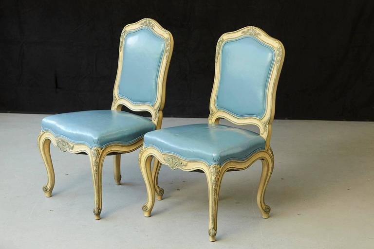 Pair of French Louis XV Style Side Chairs Upholstered in Powder Blue Leather 3