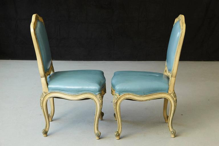 Pair of French Louis XV Style Side Chairs Upholstered in Powder Blue Leather 4