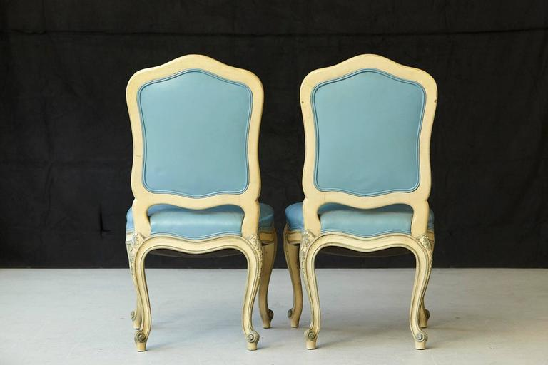 Pair of French Louis XV Style Side Chairs Upholstered in Powder Blue Leather 6