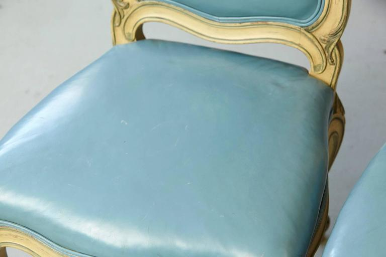 Pair of French Louis XV Style Side Chairs Upholstered in Powder Blue Leather 8