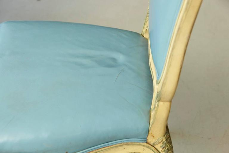 Pair of French Louis XV Style Side Chairs Upholstered in Powder Blue Leather 9