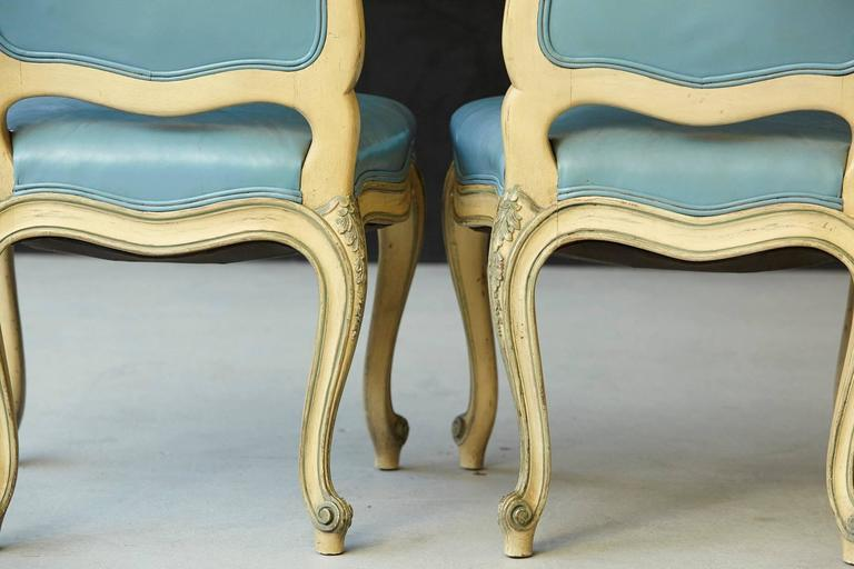 Pair of French Louis XV Style Side Chairs Upholstered in Powder Blue Leather 7
