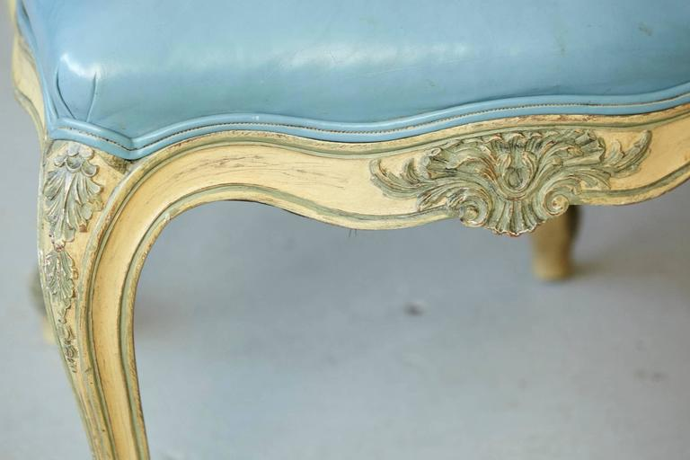 Pair of French Louis XV Style Side Chairs Upholstered in Powder Blue Leather 10