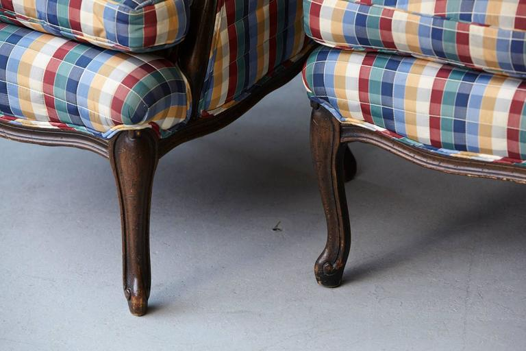 Pair of French Louis XV Style Bergères Upholstered in Madras Check Chintz Fabric For Sale 3