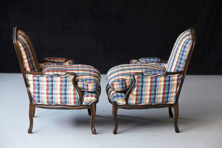 Pair of French Louis XV Style Bergères Upholstered in Madras Check Chintz Fabric For Sale 2