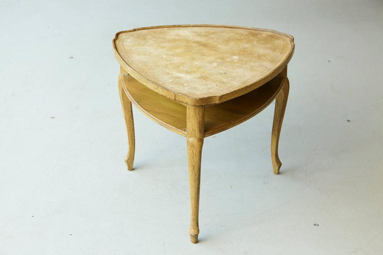 French Provincial Triangle End Table with Embossed Leather Top In Distressed Condition For Sale In Westport, CT