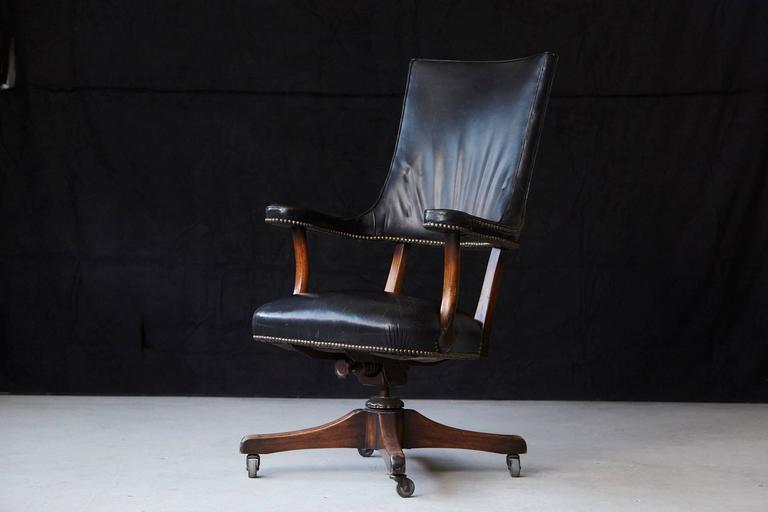 American Yale Burge High Back Leather and Walnut 'Banker's' Chair  For Sale