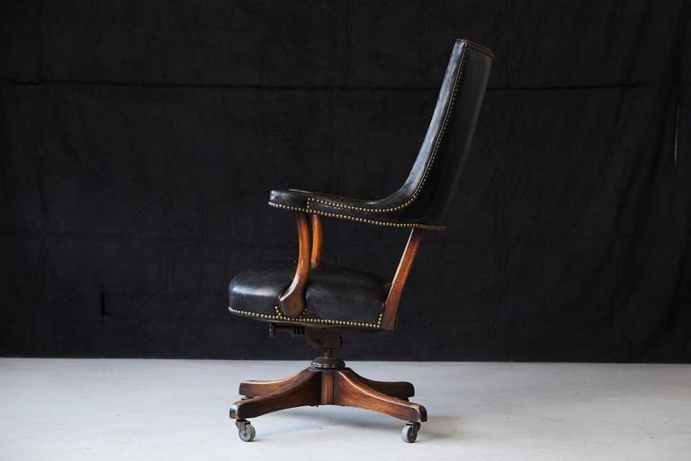 Yale Burge High Back Leather and Walnut 'Banker's' Chair  In Good Condition For Sale In Westport, CT