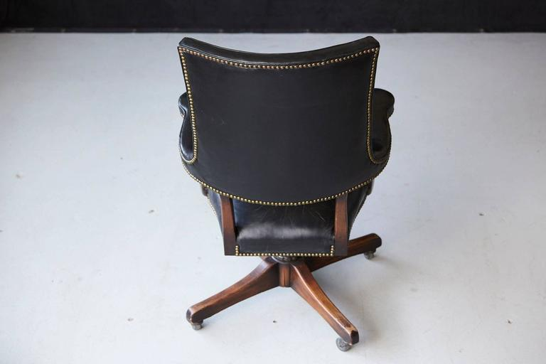 Yale Burge High Back Leather and Walnut 'Banker's' Chair  For Sale 4