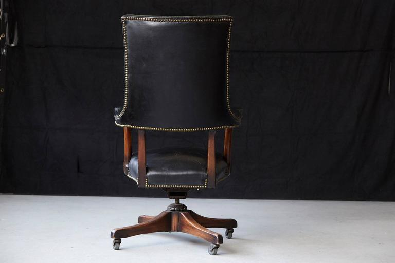 Late 20th Century Yale Burge High Back Leather and Walnut 'Banker's' Chair  For Sale