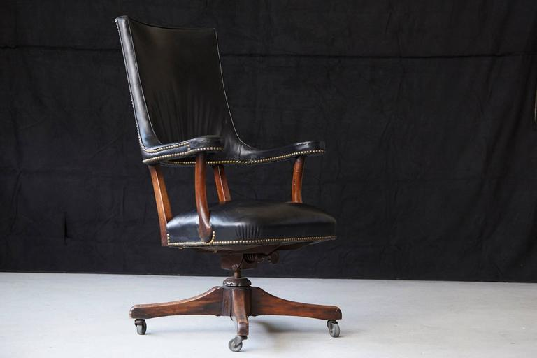 Brass Yale Burge High Back Leather and Walnut 'Banker's' Chair  For Sale