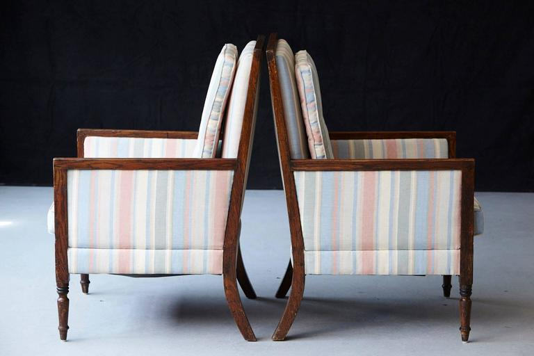 Walnut Pair of Italian Neoclassical Style Bergères in Pastel Striped Moiré Taffeta For Sale