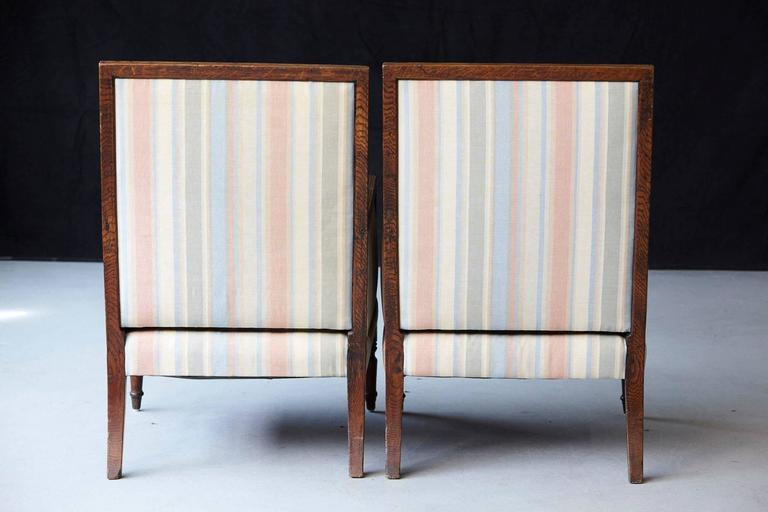 Pair of Italian Neoclassical Style Bergères in Pastel Striped Moiré Taffeta For Sale 1