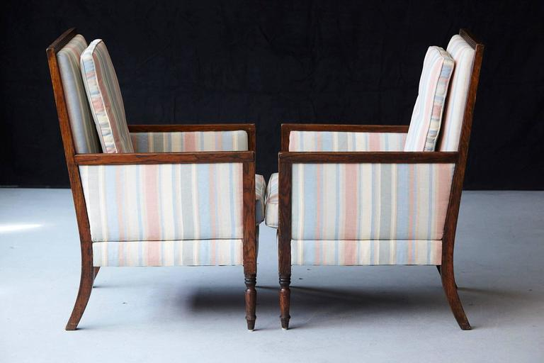 Pair of Italian Neoclassical Style Bergères in Pastel Striped Moiré Taffeta For Sale 2