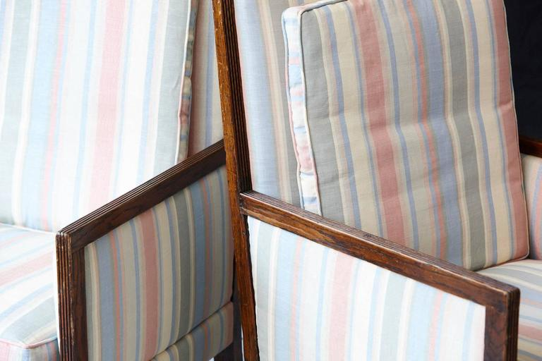 Pair of Italian Neoclassical Style Bergères in Pastel Striped Moiré Taffeta For Sale 3
