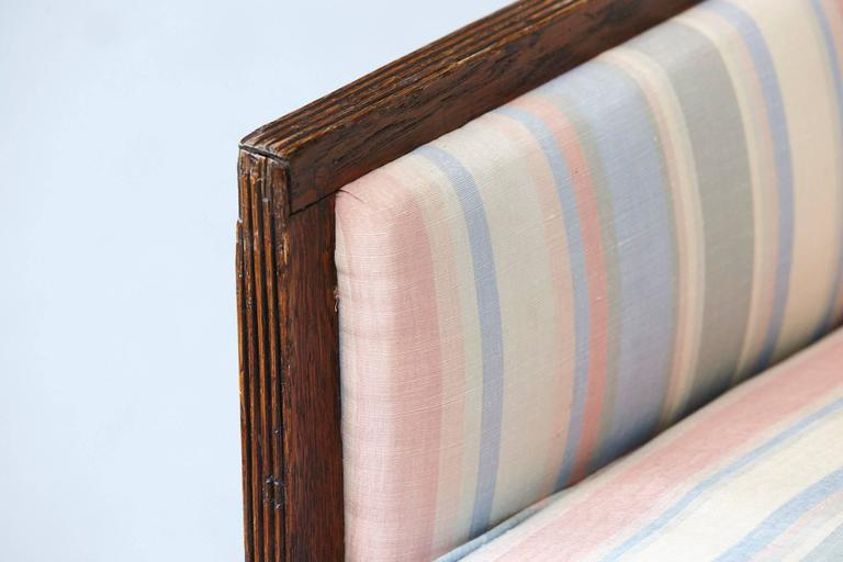 Pair of Italian Neoclassical Style Bergères in Pastel Striped Moiré Taffeta For Sale 4