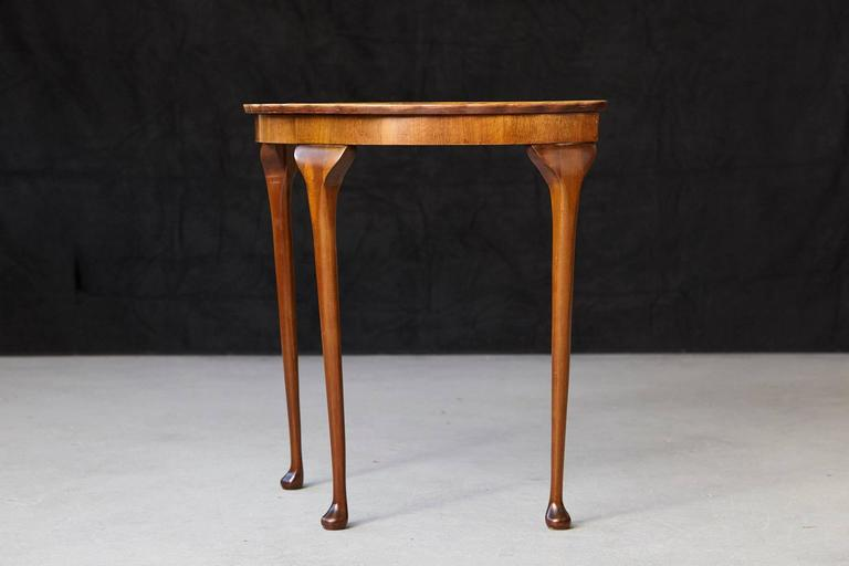 American Queen Anne Revival Style Demilune Walnut Console Table with Pie Crust Edge For Sale
