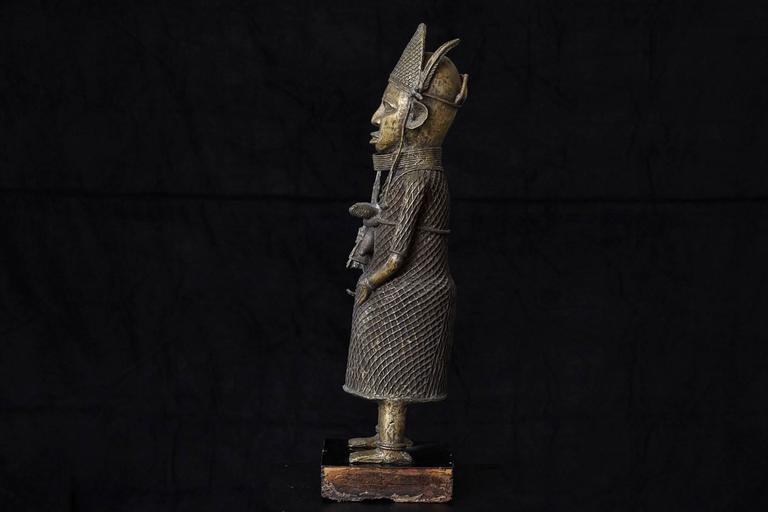 Tribal 19th Century Benin Bronze Sculpture of a Warrior For Sale