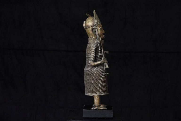 Hand-Crafted 19th Century Benin Bronze Sculpture of a Warrior For Sale