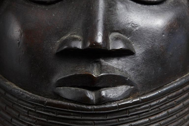 19th Century Benin Bronze Memorial Head from The Nelson Rockefeller Collection 1978 For Sale