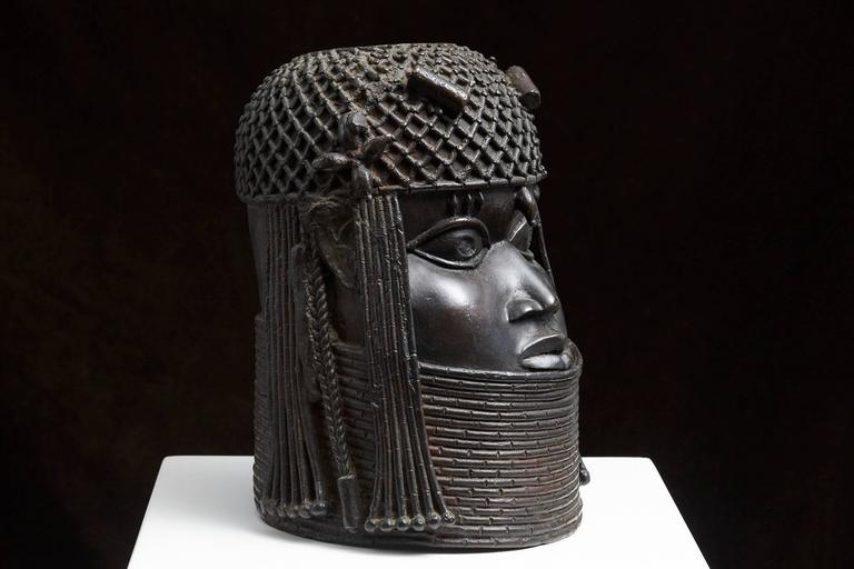 Benin Bronze Memorial Head Sculpture 3