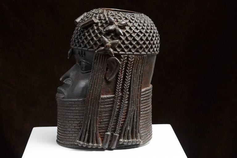 Benin Bronze Memorial Head Sculpture 4