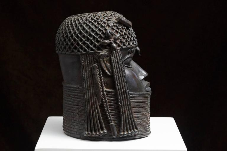 Benin Bronze Memorial Head from The Nelson Rockefeller Collection 1978 In Excellent Condition For Sale In Weston, CT