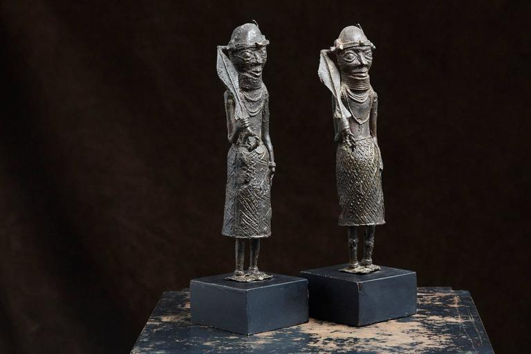 Tribal Pair of Benin Iron Warrior Statues For Sale