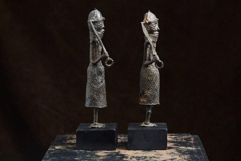 Beninese Pair of Benin Iron Warrior Statues For Sale
