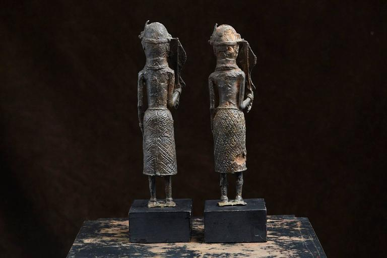 Mid-20th Century Pair of Benin Iron Warrior Statues For Sale