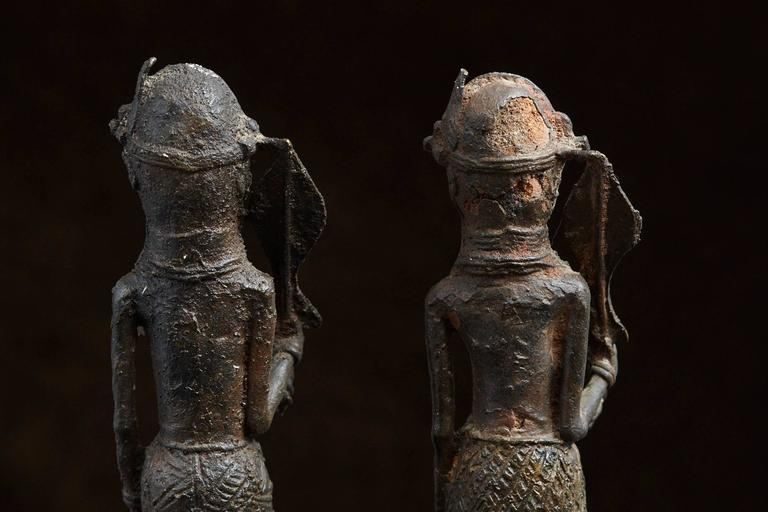 Pair of Benin Iron Warrior Statues For Sale 1