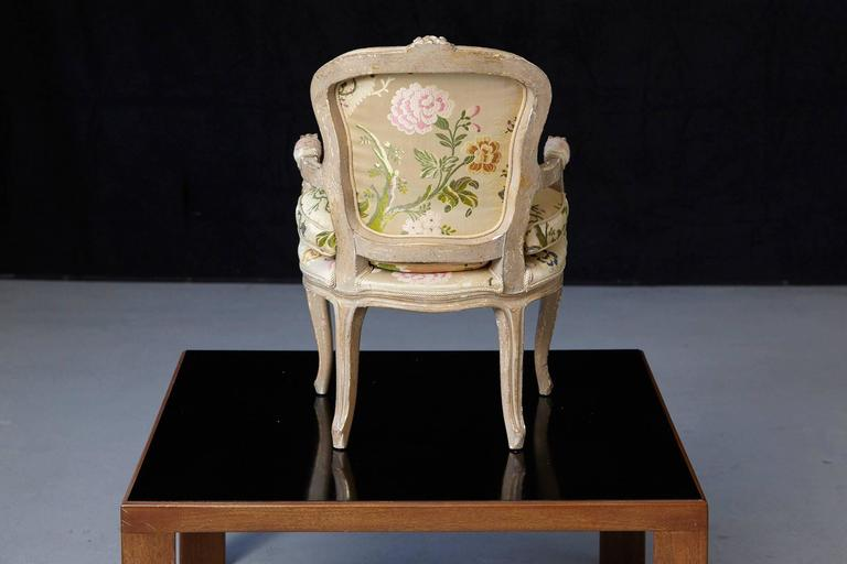 French Louis XV Style Painted Child's Fauteuil in Flower Chintz Fabric from ABC For Sale 2