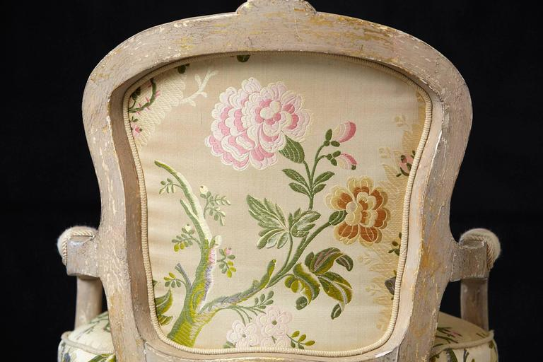 French Louis XV Style Painted Child's Fauteuil in Flower Chintz Fabric from ABC For Sale 3