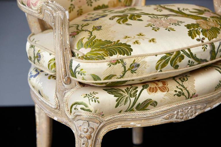 French Louis XV Style Painted Child's Fauteuil in Flower Chintz Fabric from ABC For Sale 4