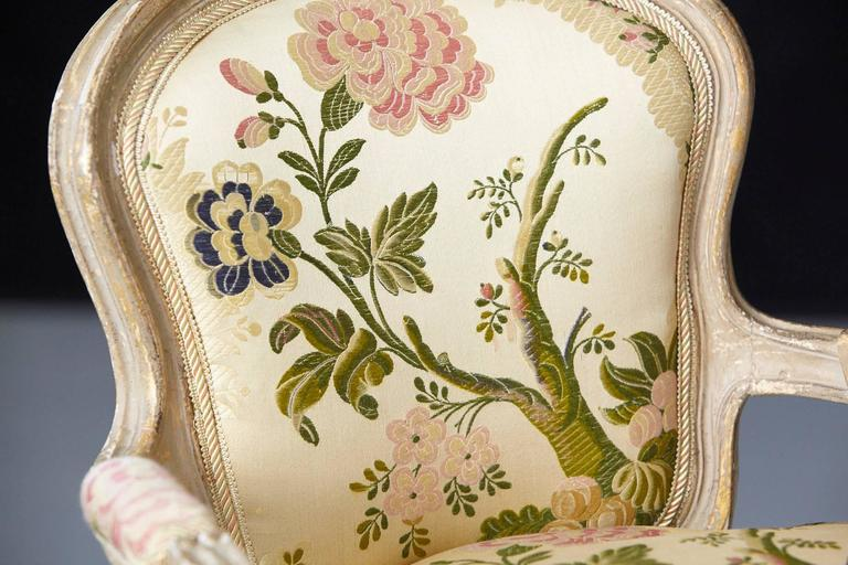 French Louis XV Style Painted Child's Fauteuil in Flower Chintz Fabric from ABC For Sale 5