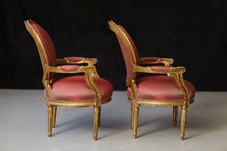 Pair of French Louis XVI Style Gilded Fauteuils In Good Condition For Sale In Weston, CT