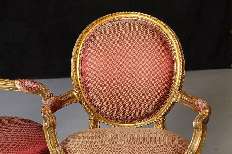 Pair of French Louis XVI Style Gilded Fauteuils For Sale 2