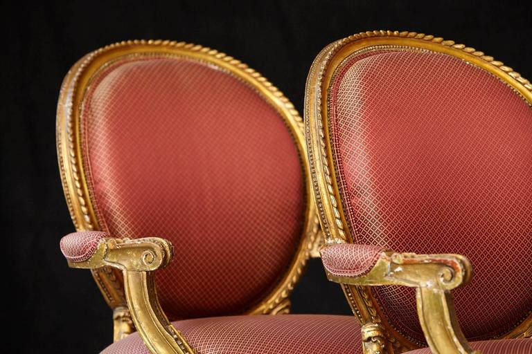 Pair of French Louis XVI Style Gilded Fauteuils For Sale 3