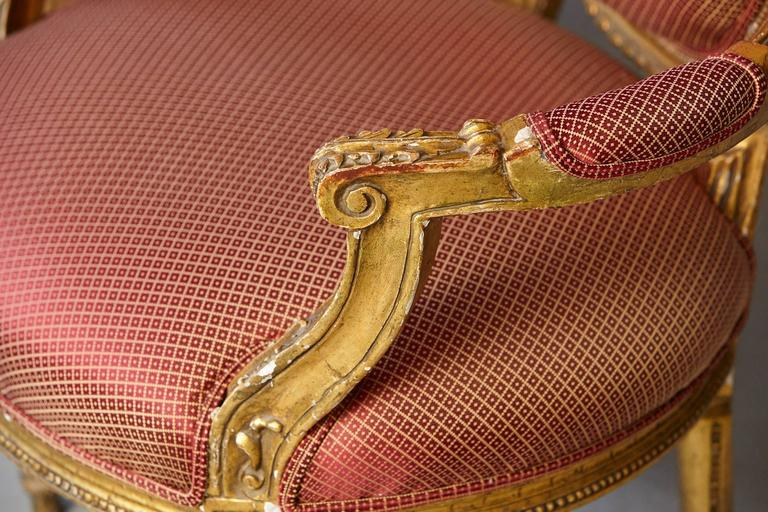 Pair of French Louis XVI Style Gilded Fauteuils For Sale 4