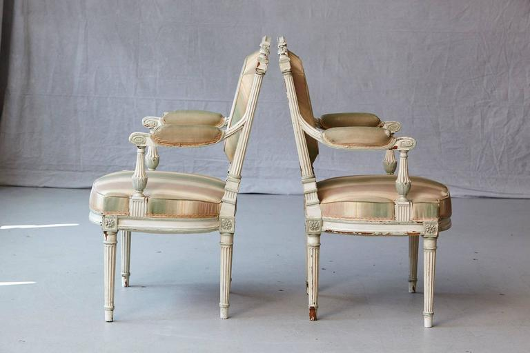 Pair of 19th Century French Louis XVI Style Painted Fauteuils In Good Condition For Sale In Weston, CT